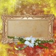 Abstract christmas background with decorative frame — Stock Photo