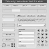 Web design elements set. White — Stock Vector