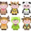 Six children in costumes of animals — Imagen vectorial