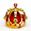 Gold royal crown. 3d illustration - Stock Photo