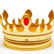 Gold royal crown. 3d illustration. - Stock Photo