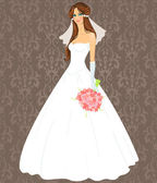 Young woman in a wedding dress — Stock Vector