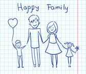 Szczęśliwą rodzinę, trzymając się za ręce i uśmiechając się — Wektor stockowy