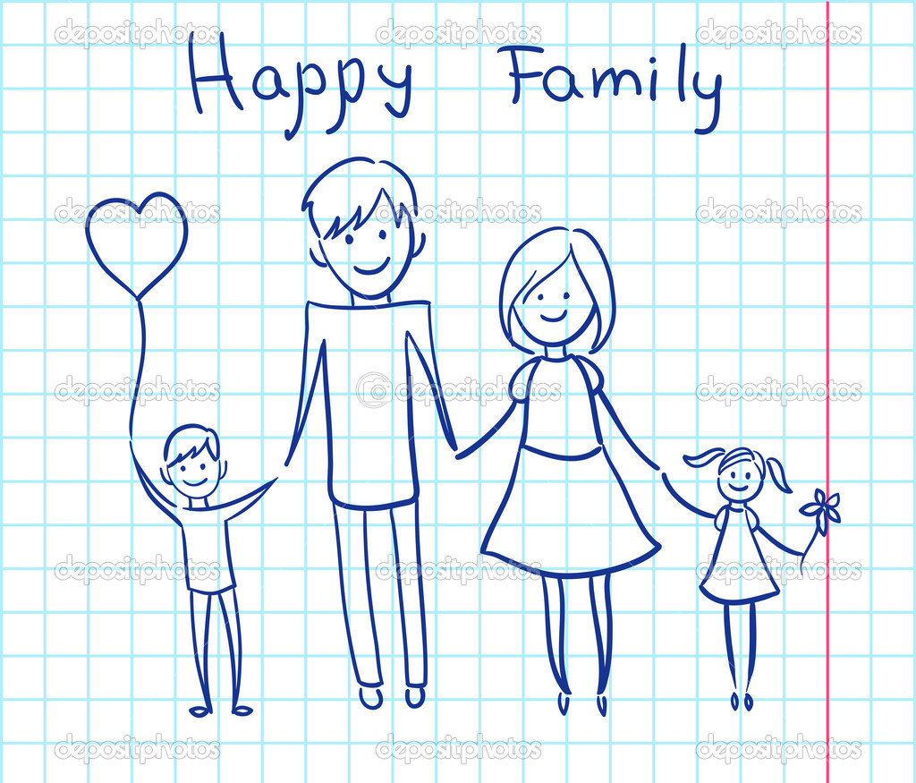 Happy family holding hands and smiling. Vector illustration — Stock Vector #7093617