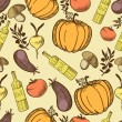 Vegetables in retro style seamless pattern — ベクター素材ストック