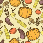 Vegetables in retro style seamless pattern — Stock Vector