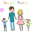 Stock Vector: Happy family holding hands and smiling