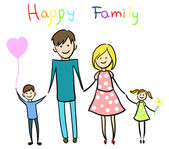 Happy family holding hands and smiling — Stock Vector