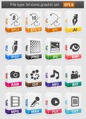 Fil typ 3d ikoner set. — Stockvektor
