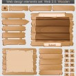 Stock Vector: Wooden web elements set