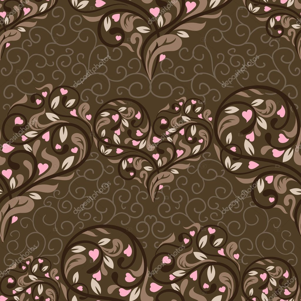 Seamless pattern with abstract heart. Vector illustration  Stock Vector #7514361