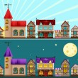 Medieval city day and night - Image vectorielle