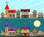 Medieval city day and night — Stock Vector