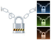 Metal chain and padlock — Stock Vector