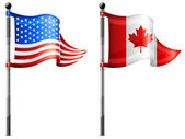 USA & Canada flags — Vettoriale Stock