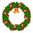 Stock Vector: Christmas wreath of holly