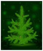 Christmas fur-tree on green — Stock Vector