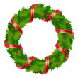 Holly berry wreath with ribbon — Stock Vector #7529992