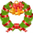 Christmas pine wreath with bells — Vector de stock