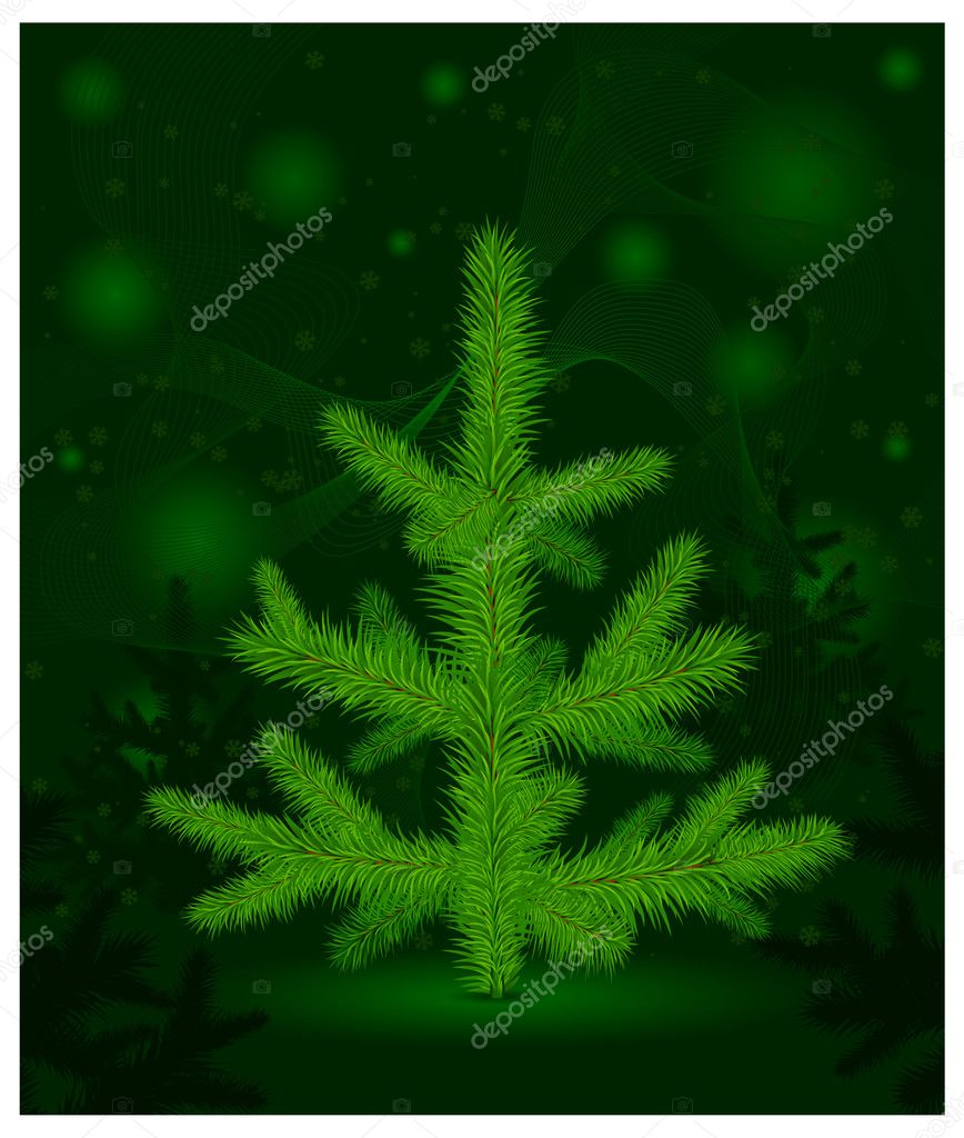 Green Christmas fur-tree with cones on green decoration background, vector illustration  Stock Vector #7601268