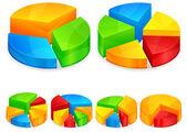 Diagramas circulares de color — Vector de stock