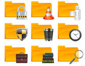 Folder with different icons — Stock Vector
