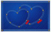 Denim hearts on blue — Stok Vektör