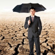 Bussinessman with umbrella in a desert - Stock Photo