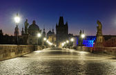 Prague Charles bridge at dawn — Stock Photo
