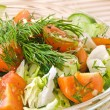 Fresh vegetable salad with tomato, lettuce, cucumber — Stock Photo
