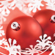 Red Christmas Ball on white — Stock Photo