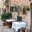 Foto Stock: Street cafe in old town Rovinj