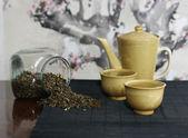 Green tea set — Stock Photo