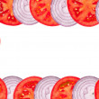 Frame made of chopped tomatoes and onions — Stock Photo