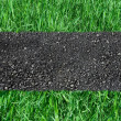 Stock Photo: Asphalted road on green grass