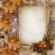 Autumn frame of oak leaves on a grange background. — Stock Photo #7529696
