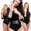 Group of three sexy ladies in black body suits — Stock Photo