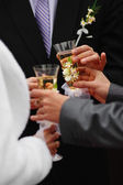 Bride and groom with wedding champagne wine — Stock Photo