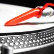 Turntable playing viyl record with music — Stock Photo #7363562