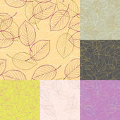 Six seamless leaves vector backgrounds — Vettoriale Stock