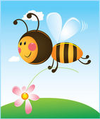 Bee and flower — Vector de stock