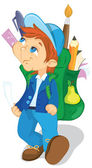 Boy with backpack — Stock Vector