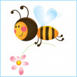 Stock Vector: Funny bee and flower