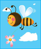 Bee and flower — Stock Vector