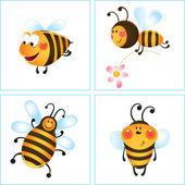 Vier lustige bienen — Stockvektor