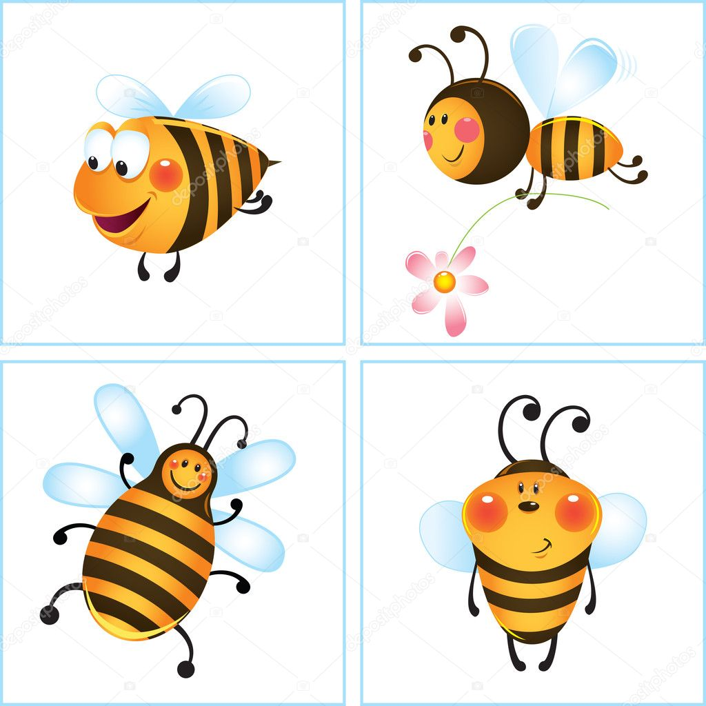 Funny bee and flower in frame. Cartoon illustration — Vector by ...