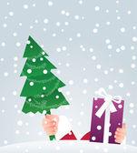 Santa präsentiert ein geschenk — Stockvektor