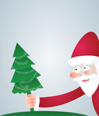 Santa and Christmas tree — Vector de stock