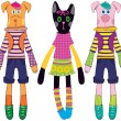 Dolls dog, cat and pig — Vector de stock #7803055