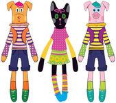 Cerdo, gato y perro de muñecas — Vector de stock